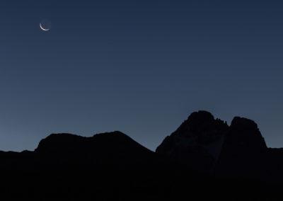 La luna sul Monviso e Cima delle Rossette